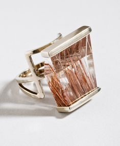 I drool for this ring - Ring in white gold and rutilated quartz crystal, 1949, by Margaret De Patta