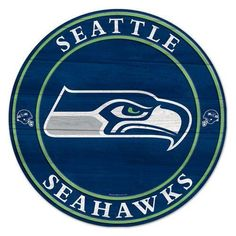 Seattle Seahawks Team Round Wood Sign - Officially Licensed - Seattle Seahawks - NFL - Sports Flags - Product Type Flags A' Flying Seattle Seahawks Logo, Seahawks Football, Football Art, Fantasy Football, Football Crafts, Nfl Seattle, Sports Flags, Nfl Sports, Football Logo Design