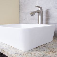 VIGO Marigold Matte White Matte Stone Vessel Rectangular Bathroom Sink at Lowe's. The simple rectangular silhouette of the VIGO Marigold Matte StoneTM vessel bathroom sink is just the beginning of All that makes it impressive. Counter Top Sink Bathroom, Small Bathroom Sinks, Bathroom Sink Drain, Stone Bathroom, Bathroom Countertops, Bathroom Sets, Bathrooms, Modern Marble Bathroom, White Vessel Sink