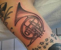 French Horn Tattoo