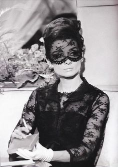 "rareaudreyhepburn: "" Audrey Hepburn photographed during the filming of How to Steal a Million, Audrey was wearing a Givenchy black chantilly lace dress and matching jacket. Fun fact: Hubert de Givenchy wasn't sold on the face mask but Audrey. Peter O'toole, Divas, Classic Hollywood, Old Hollywood, Hollywood Images, Audrey Hepburn Mode, Audrey Hepburn Givenchy, Audrey Hepburn Costume, Terry O Neill"