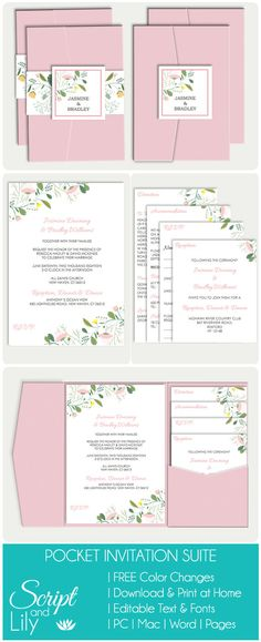 25% OFF Printable Wedding Pocket Fold Template Suite | All Text Editable | Print at Home | Modern Floral | Pinks | Yellow | Word | Pages by ScriptAndLily on Etsy