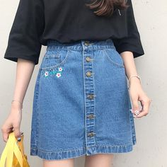 b925a115636 Women's Summer High Waist Button Line Skirt | Female Denim Skirt – zorket  Denim Röcke,
