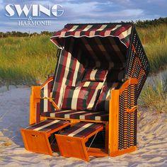 Luxus Strandkorb XXL Ostsee Volllieger Sonneninsel Rattan Möbel Gartenliege[blau/weiss-gestreift]