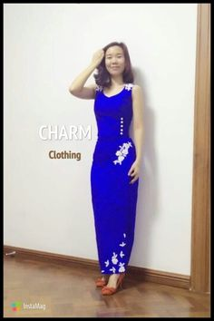 Myanmar dress Myanmar Traditional Dress, Traditional Dresses, Thai Style, Asian Style, Myanmar Dress Design, Oriental Dress, Designer Dresses, High Neck Dress, Burmese