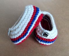 Hand Knitted Baby Bootees Slippers Red, White & Blue + Crown Buttons Baby Shower New Baby Christening Ready to Ship Worldwide from UK. by HandKnittedYorkshire on Etsy