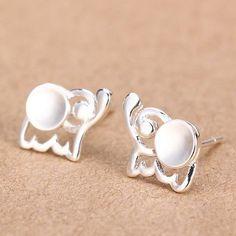 Sweet Elephant 925 Silver Stud Earrings