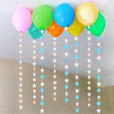 Paper Stars Wedding Birthday Party Baby Kids Room Hanging Decorations Garland - Home Decoration Ideas Birthday Room Decorations, Balloon Decorations, Baby Shower Decorations, Hanging Decorations, Hanging Banner, Diy Banner, Party Garland, Garland Wedding, Easter Garland