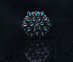 Zuni Handmade Sterling Silver Inlay Turquoise Pin/Pendant #Unbranded
