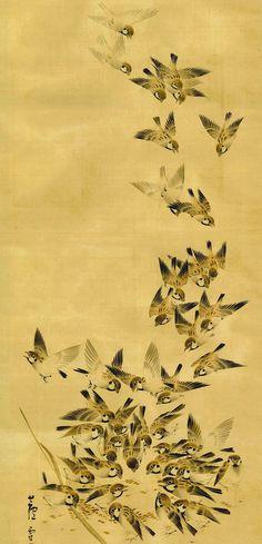 Flock of Sparrows - Nagasawa Rosetsu (1754-1799)