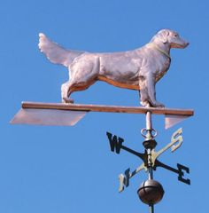 Golden Retriever Dog Weathervane Standing by West Coast Weather Vanes.  This copper Golden Retriever Weathervane shows the Golden Retriever in the classic confirmation pose. For a more action oriented pose, we also offer a Running Golden Retriever Weather Vane. Over the years, we have made a number of these standing Golden Retriever weathervanes for customers who have national champions. They are split about equally between the Standing Golden and Running Golden.