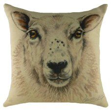 Sheep Waggy Dogz cushion with designs by Christine Varley, UK pet portrait artist. Ideal gifts for those who love in the UK & EU. Sheep And Lamb, Printed Cushions, Household Items, Pet Portraits, Watercolor Paintings, Moose Art, Wildlife, Tapestry, Throw Pillows