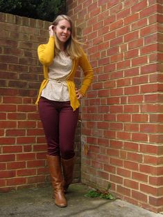 ladies cardigans supply the excellent portion to really fasten your desired setup simultaneously. Yellow Cardigan Outfits, Burgundy Pants Outfit, Colored Pants Outfits, Maroon Outfit, Casual Skirt Outfits, Fall Outfits, Cute Outfits, Fashion Outfits, Brown Pants Outfit For Work