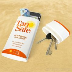 Lotion Bottle To Conceal Valuables Whether at the beach or water park, keep your valuables handy but hidden in a suntan lotion bottle or case of hand wipes.