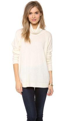 Velvet Cashmere Classic Turtleneck Sweater ribbed collar. Color: milk