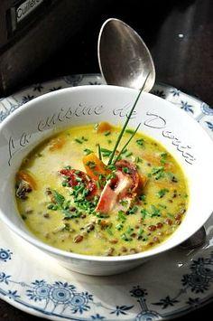 Soupe de lentilles et carottes, lard au curry vert