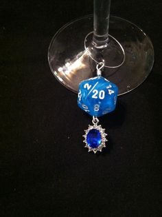 Blue D20 wine charm with faux gems $4