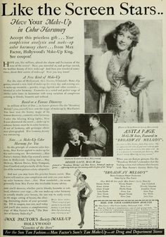 Photoplay July 1929: Anita Page and Bessie Love in an advertisement for Max Factor cosmetics.