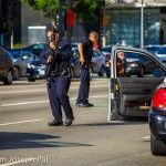 Pro-Israel demonstrators in Los Angeles were violently targeted by several men waving Palestinian flags on Sunday afternoon, prompting a Department of Homeland Security (DHS) officer at the scene to f