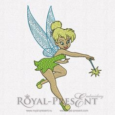 Machine Embroidery Design - Tinker Bell #3 (2 in 1) | Tinker Bell- Royal Present Embroidery
