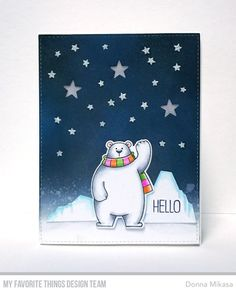 It's Day 2 of our fun collaboration with Chibitronics® and I'll have to admit that this time around, I felt a little more confiden. Creative Christmas Cards, Xmas Cards, Creative Cards, Handmade Christmas, Holiday Cards, Bear Card, Mft Stamps, Christmas Paintings, Polar Bears