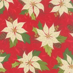 Christmas Poinsettia - Red Fabric - Shop for it at www.valliandkim.com