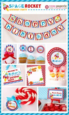 Rocket Space Birthday Party Package Personalized by venspaperie, $35.00