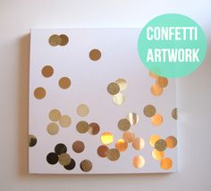Canvas, spray adhesive, metallic paper, circle template or punch!