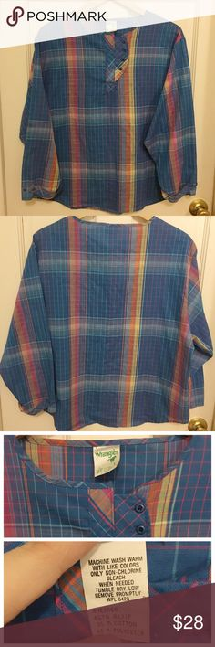 """WRANGLER Plaid Button Trim Blouse So feminine. Worn only a few times. No stains, rips, etc. cute button closure on neck and wrists. Measures 23"""" armpit to armpit laying flat. Wrangler Tops Blouses"""