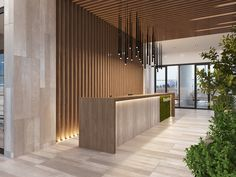 pendant lights in the lobby. also reference for wooden cladding in the lobby Office Reception Design, Corporate Office Design, Dental Office Design, Modern Office Design, Clinic Interior Design, Lobby Interior, Interior Design Photos, Clinic Design, Hotel Lobby Design