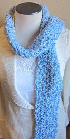 Crochet Scarf Soft Baby Blue Yarn by Kitkateden on Etsy, $18.00
