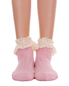 """Color: Heather Gray, Pink Size: One Size Product Detail +Ankle socks features lace ruffle detailing on top +Length: (Gray) 12"""", (Pink) 11"""" Attention +Imported"""