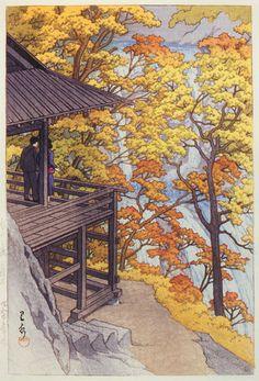 Kawase Hasui (1883-1957): Fukuroda Waterfall in Autumn,Ibaragi, 1954