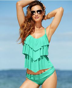 Kenneth Cole Reaction Tiered Ruffle Tankini Top - Swimwear - Women - Macy's