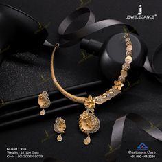 Casting Necklace Set jewellery for Women by jewelegance. ✔ Certified Hallmark Premium Gold Jewellery At Best Price Gold Bangles Design, Gold Jewellery Design, Jewelry Design Earrings, Necklace Designs, Gold Jewelry Simple, Trendy Jewelry, Gold Mangalsutra Designs, Fancy Jewellery, Fashion Jewelry