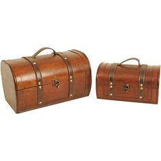 These gorgeous wooden trunks are accented with dark brown faux leather straps and handle with brass studs. These trunks are the perfect size for many applications. Create attractive gift baskets for family and friends, or use as storage and organization.