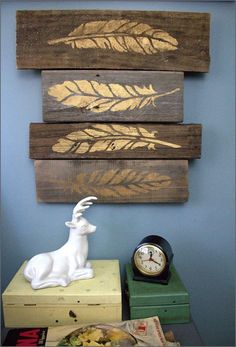 Stenciled Metallic Feathers on Weathered Wood Blocks