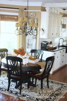 FEATURED AT SAVVY SOUTHERN STYLE. Create casual space in kitchen and get the most of 1 space.use other room as formal dining area Kitchen Redo, New Kitchen, Kitchen Dining, Kitchen Remodel, Tan Kitchen Walls, Kitchen Nook, Kitchen Colors, Kitchen Island, Savvy Southern Style