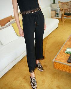 BLAZE - Loungewear pants with fringed hem - Black – Nanushka