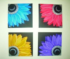 Four Canvas Paintings Set by Asteltsart on Etsy, $110.00