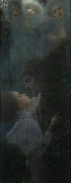 Gustav Klimt  I love the dark and light in this artwork. The black around the light figures is the negative space. You can also make out another figure in the black space.