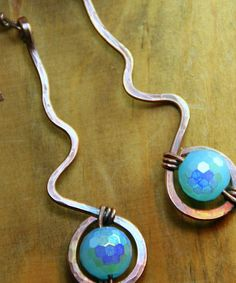 Hammered Copper Earrings with Ocean Blue by AllowingArtDesigns, $20.00