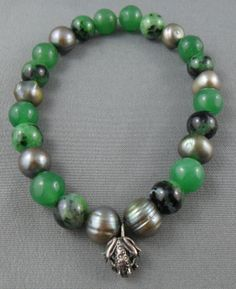 Kiss Me  freshwater pearl zoisite aventurine by RainbowCatParty, $15.99