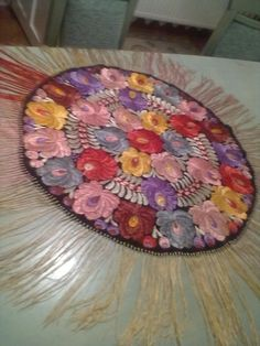 Multi-Color MATYO SILK EMBROIDERED TABLECLOTH  Hungarian-1890 Art Nouvea great