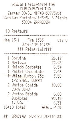 Cuenta de restaurante
