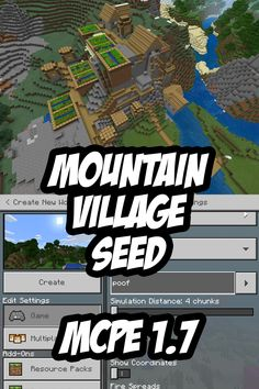 A Minecraft PE village seed where the village is embedded in a mountain (extreme hill). Verified on Minecraft PE (Bedrock Edition) and and Minecraft Seeds Xbox One, Minecraft Seeds Pocket Edition, Minecraft Cheats, Minecraft Plans, Minecraft Videos, Minecraft Tutorial, Minecraft Blueprints, Minecraft Houses Xbox, Minecraft Stuff