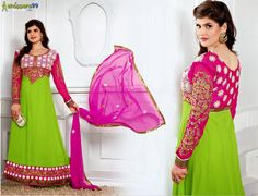 Shop online attractive #ZarineKhan Green Pink Long #AnarkaliSuit at best price. Buy Now:-  http://www.shoppers99.com/zarine_khan_begum_anarkali_suits_collection/zarine_khan_green_pink_long_anarkali_suit_t-521-1050