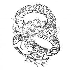 Dragon vector illustration on white background Premium Vector Rose Drawing Tattoo, Tattoo Sketches, Tattoo Drawings, Dorm Art, Chinese Dragon Tattoos, Dragon Sleeve Tattoos, Tattoo Style, Grunge, Desenho Tattoo