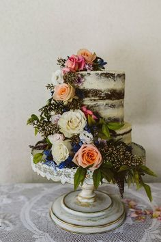 Floral Wedding Cake // A Beautiful Backyard Garden Wedding by Ruth Gilmour Photography
