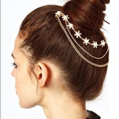 "RHINESTONE FLOWER HAIR COMB This multi-strand swag of crystals and faux pearl drapes beautifully across the back of your head. Measures 8"" across(approx) two small comb hold it in securely in place. Accessories Hair Accessories"